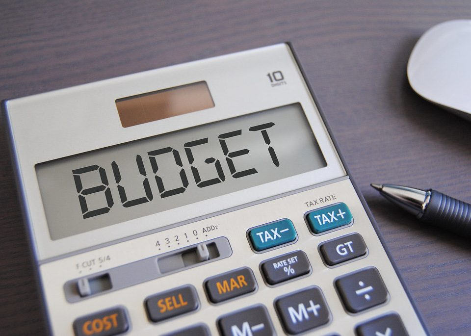 Budget written on a calculator