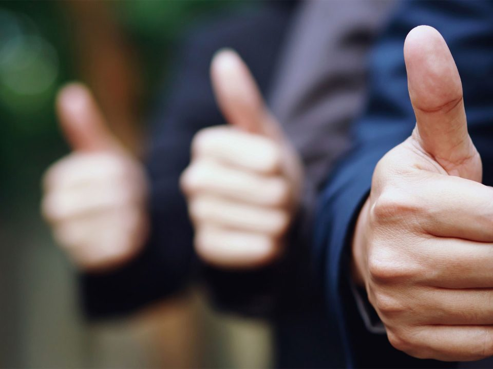 Financial exams success - thumbs up